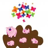 可爱的小猪 — 图库矢量图片