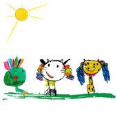 Children's illustration of the animals — Stock Vector