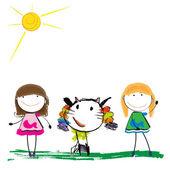 Children's illustration of the animal and girls — Stock Vector