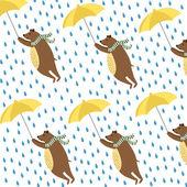 Bears with umbrellas — Stock Vector