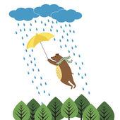 Bear with umbrella — Stock Vector