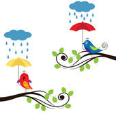 Birds with umbrellas — Stock Vector