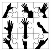 Puzzle resign hands — Stock Vector