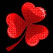 Trébol de la suerte de corazón rojo — Vector de stock