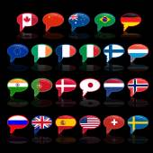 Set of  language bubble with flags — Stock Vector