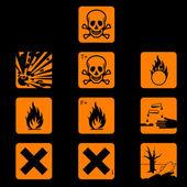 Set of chemicals hazard symbols — Stock Vector