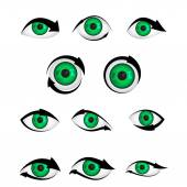 Shape of green eye with arrow — Stock Vector