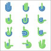 Arrow Hand Gestures and signals — Stock Vector