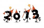 Personaggio di fumetti 2013new anno vigilia — Vettoriale Stock