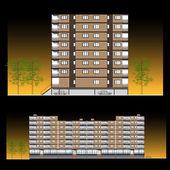 Facade. Habitation building — Stock Vector
