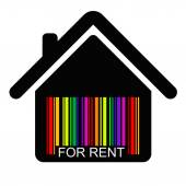 For rent HOUSE BARCODE — Stock Vector