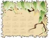 календарь с зелеными листьями — Cтоковый вектор