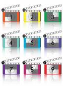 Colorful Film countdown — Stock Vector