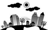 Aarde wereldbol met city scape — Stockvector