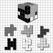Puzzle tetris cube — Stock Vector