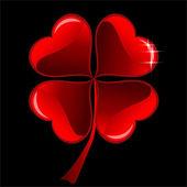 Red heart Clover — Stock Vector