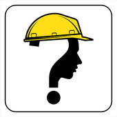 Worker man sign with question — Stock Vector