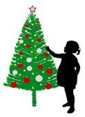 Toddler girl putting decoration on christmas tree — Stock Vector