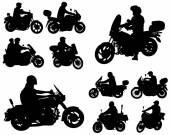 Motorcyclists silhouettes collection — Stock Vector