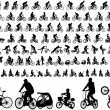 106 high quality bicyclists silhouettes — Stock Vector #63930745