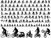 106 high quality bicyclists silhouettes — Stock Vector