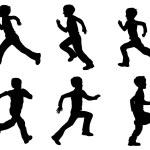 Kid running silhouettes — Stock Vector #70066039