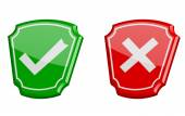 Yes or no 3d vector icons — Stock Vector