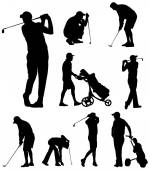 Golfer silhouettes — Stock Vector