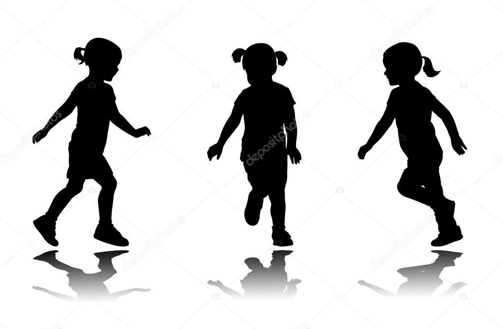 Running girl silhouette