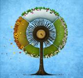 Round tree four seasons — Stock Photo