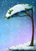 Snowy tree umbrella — Stock Photo