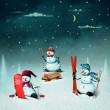 Three snowman — Stock Photo #56796163
