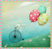 Bunny and Bicycle — Foto Stock