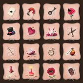 Icons Alice in Wonderland — Stock Photo