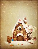 Christmas Adventure Bunny and Bear. — Stock Photo