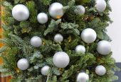 Silver baubles — Stock Photo