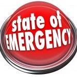 State of Emergency Red Flashing Light Button Warning Danger Cris — Stock Photo #52848045
