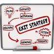 Exit Strategy Plan Written on Dry Erase Board Ending Way Out — Stock Photo #52849041