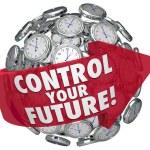 Control Your Future Words Clocks Ticking Forward Progress — Stock Photo #52849481