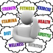 Fitness Words Person Thinking Exercise Diet Wellness Plan — Stock Photo #52849813