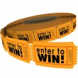 Enter to Win Raffle Ticket Roll Fundraiser Charity Lottery Luck — Stock Photo #52849835