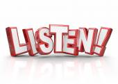 Listen Word 3d Red Letters Pay Attention Important Information — Foto Stock