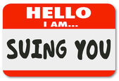 Hello I Am Suing You Name Tag Sticker — Stock Photo