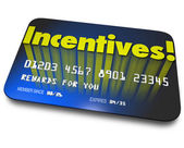 Incentives Rewards Bonus Credit Gift Card Money Savings Value — Stok fotoğraf