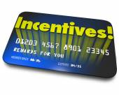 Incentives Rewards Bonus Credit Gift Card Money Savings Value — Stockfoto