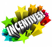 Incentives 3d Word Stars Fireworks Advertising Promotion Rewards — Stock Photo