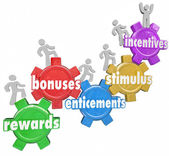 Incentives Rewards Bonuses Customers Workers Climbing Heigher — Zdjęcie stockowe