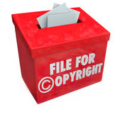 File for Copyright Red 3d Entry Box Intellectual Property Protec — Zdjęcie stockowe