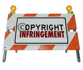 Copyright Infringement Violation Barrier Barricade Construction — Zdjęcie stockowe