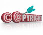 Copyright Red 3d Words Legal Symbol Target Arrow Bulls Eye — Foto Stock
